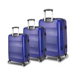 Sada 3 modrých cestovných kufrov na kolieskach s USB porty My Valice LASSO Travel Set