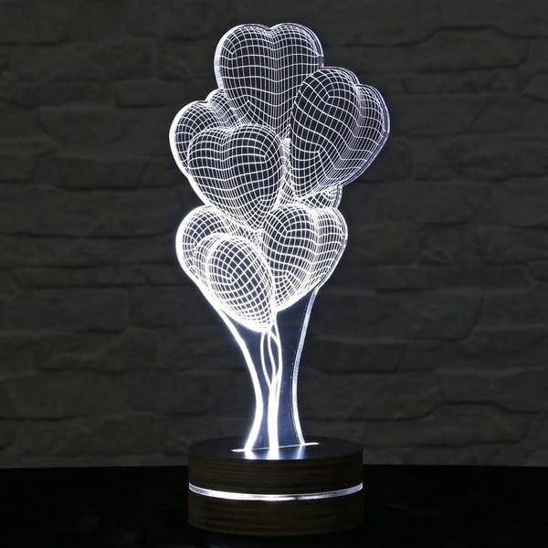 3D stolová lampa Heart Ballons