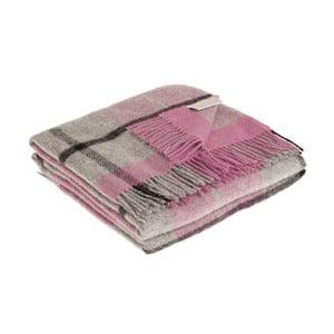 Ružovo-sivá deka z panenskej vlny Lanerossi Harris, 130 x 170 cm