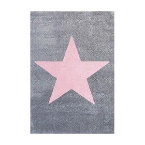 Sivo-ružový detský koberec Happy Rugs Superstar, 80x150cm