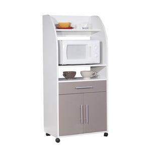 Sivý pojazdný kuchynský úložný systém s policami Symbiosis Jeanne