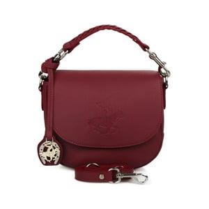Tmavočervená kožená kabelka Beverly Hills Polo Club Kelly
