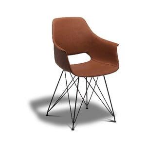 Hnedá jedálenská stolička s nohami z bukového dreva Furnhouse Elvis