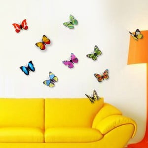 Trojrozmerné samolepky motýlikov Walplus 3D Colorful Butterflies