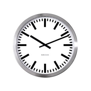 Sivé hodiny Present Time Station, veľké