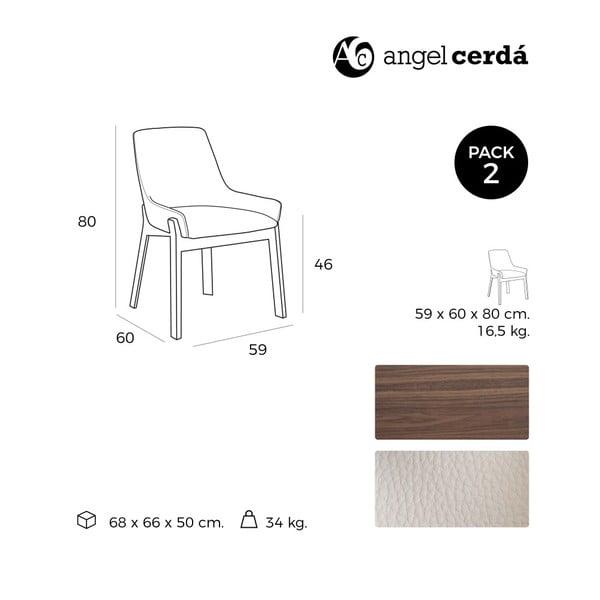 Sada 2 jedálenských stoličiek s podnožou z orechového dreva Ángel Cerdá Nuttie