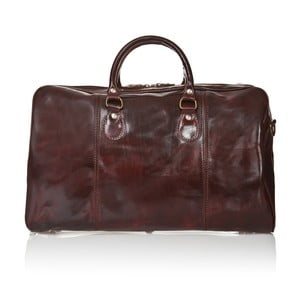 Tmavohnedá kožená cestovná taška Medici of Florence Enrico