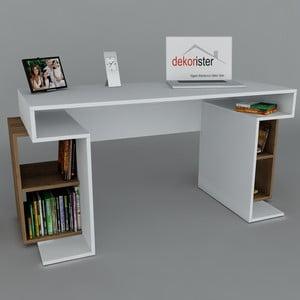 Pracovný stôl Monument White/Walnut, 60x140x75 cm