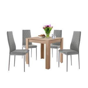 Set jedálenského stola v dubovom dekore a 4 sivých jedálenských stoličiek Støraa Lori and Barak, 80 x 80 cm
