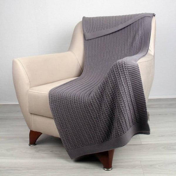 Tmavosivá bavlnená deka Clen