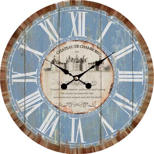 Nástenné hodiny Blue Vintage, 34 cm