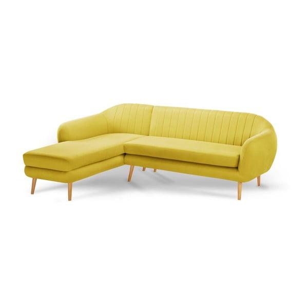 Žltá trojmiestna pohovka Scandi by Stella Cadente Maison Comete, ľavý roh