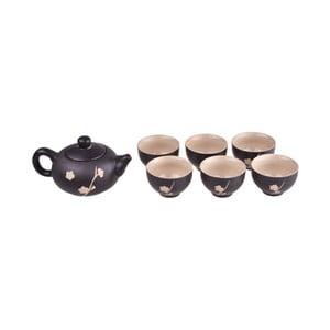 Set čiernej čajovej kanvice a 6 hrnčekov Bambum Fornia