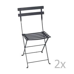 Sada 2 antracitových skladacích stoličiek Fermob Bistro