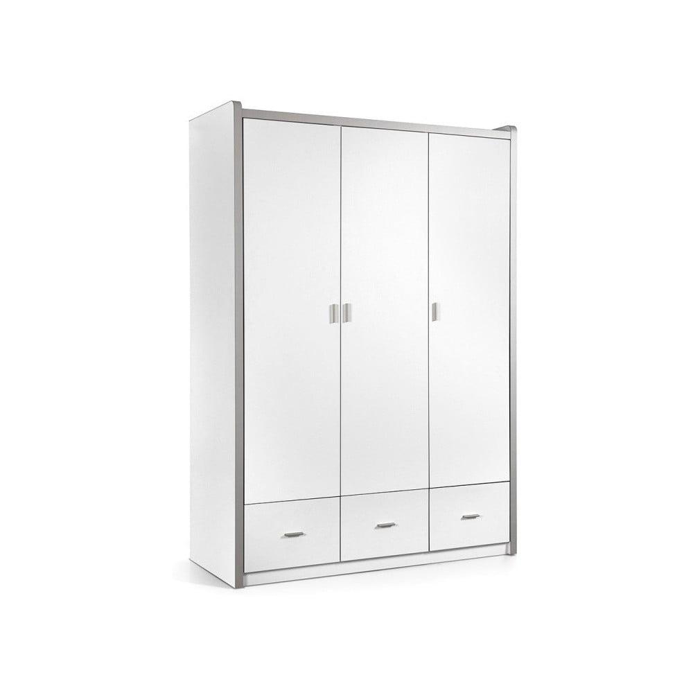 Biela šatníková skriňa Vipack Bonny, 202 × 60 × 140,5 cm