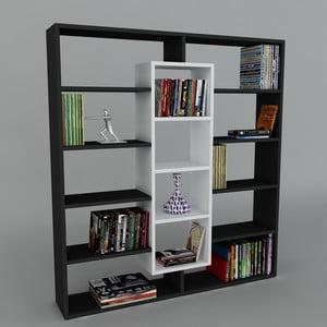 Knihovna Ample Black/White, 22x125x135,7 cm