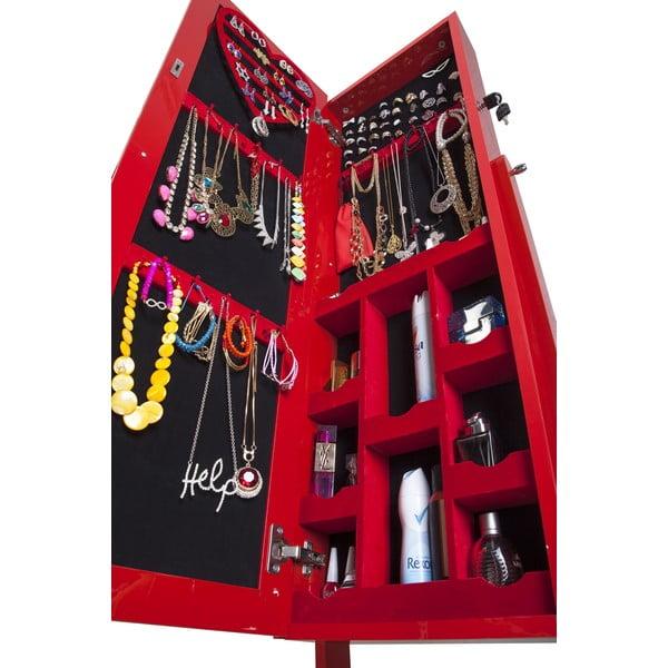 Uzamykateľné stojacie zrkadlo so šperkovnicou Melody, červené