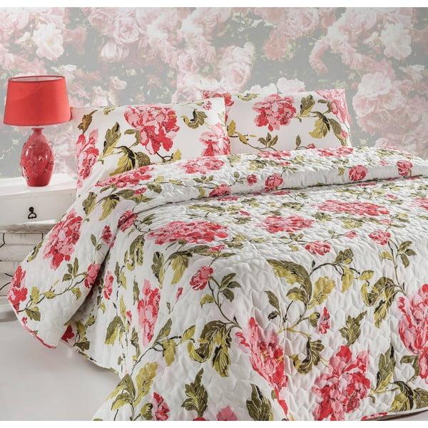 Prikrývka na posteľ a obliečka na vankúš Flower Pink, 160x220 cm