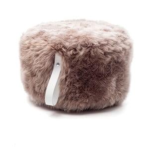 Hnedo-biely svetlý okrúhly puf z ovčej vlny Royal Dream