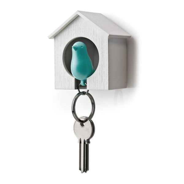 Búdka s kľúčenkou QUALY Sparrow, biela búdka/modrý vtáčik
