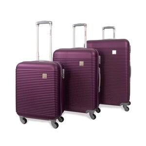 Sada troch fialových cestovných kufrov Jaslen