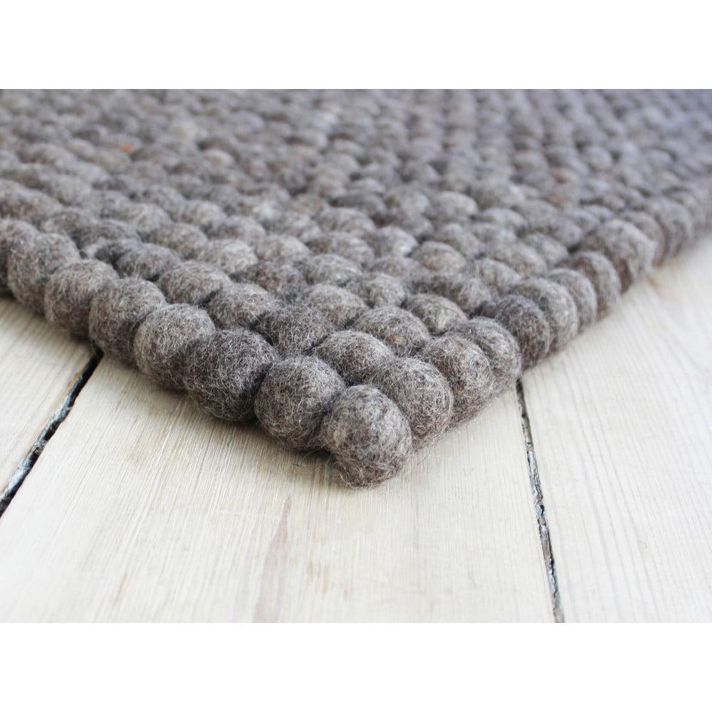 Orechovohnedý guľôčkový vlnený koberec Wooldot Ball rugs, 100 x 150 cm