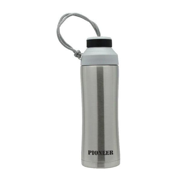 Strieborná športová fľaša Pioneer, 450 ml