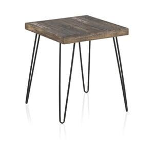 Odkladací stolík s doskou z brestového dreva Geese Rea, výška 52 cm