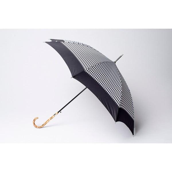 Dáždnik Houndstooth, čierny
