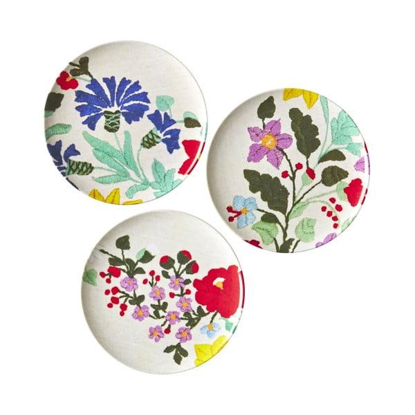 Sada 3 dezertných tanierov Flowers