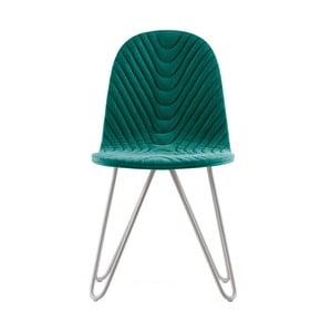 Tyrkysová stolička s kovovými nohami IKER Mannequin X Wave