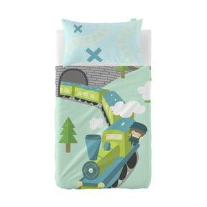Set plachty a obliečky na vankúš z čistej bavlny Happynois Train, 120×180 cm