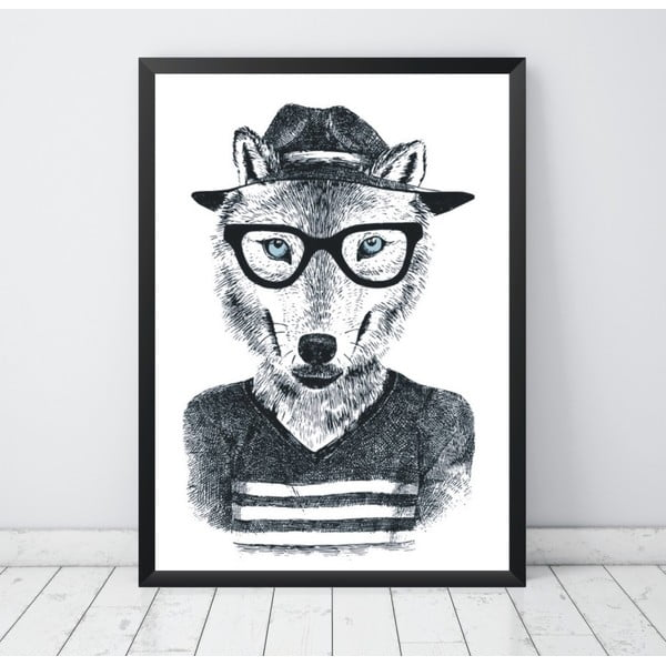 Plagát Nord & Co Hipster Wolf, 30 x 40 cm