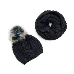 Set čierneho šálu a čiapky Art of Polo Audhild