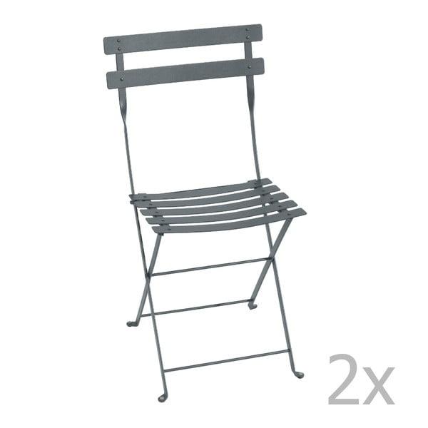 Sada 2 tmavosivých skladacích stoličiek Fermob Bistro