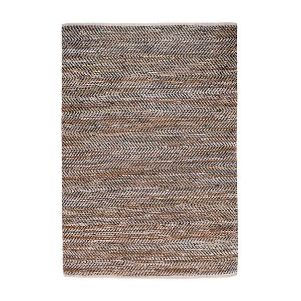 Denimový koberec prepletený kožou Atlas Beige/Chestnut, 160x230 cm