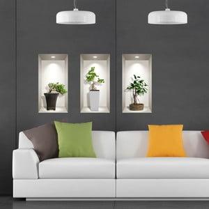 Sada 3 3D samolepiek na stenu Ambiance Bonsai Plants