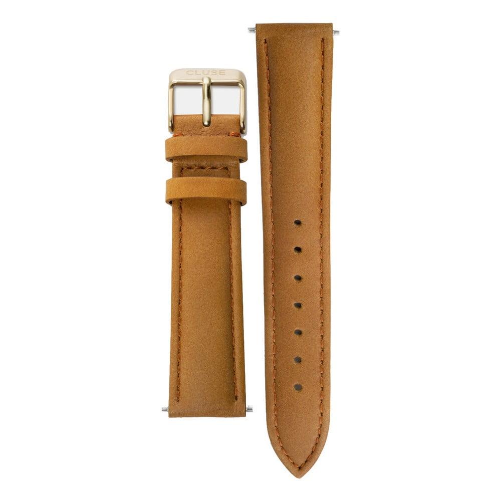 Koňakovohnedý kožený remienok s detailmi v zlatej farbe k hodinkám Cluse La Bohème