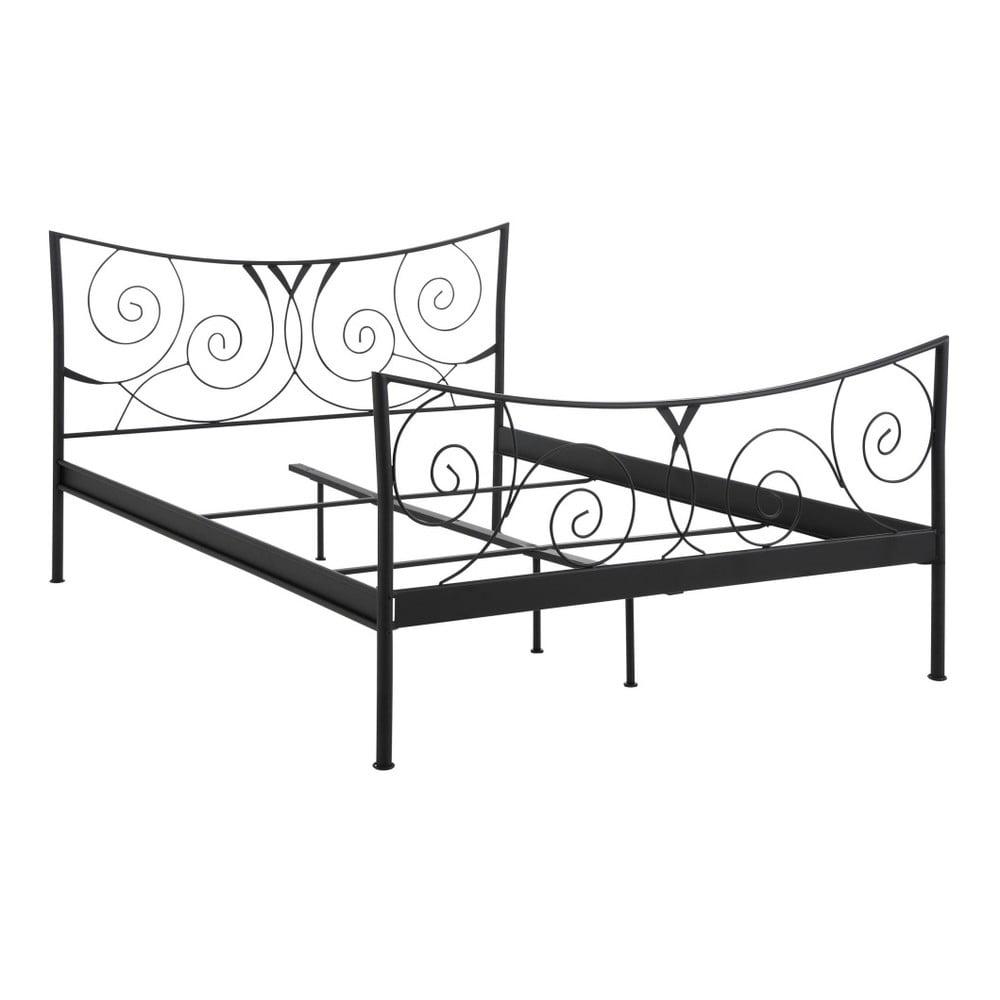 Čierna dvojlôžková kovová posteľ Støraa Isabelle, 140×200cm