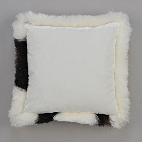 Čierno-biely kožušinový vankúš s krátkym vlasom Spotted, 35x35cm