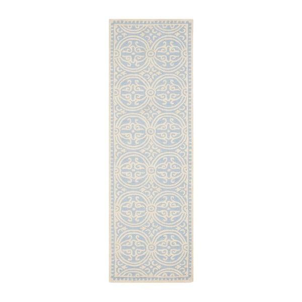 Vlnený koberec Marina Light Blue, 76x243 cm