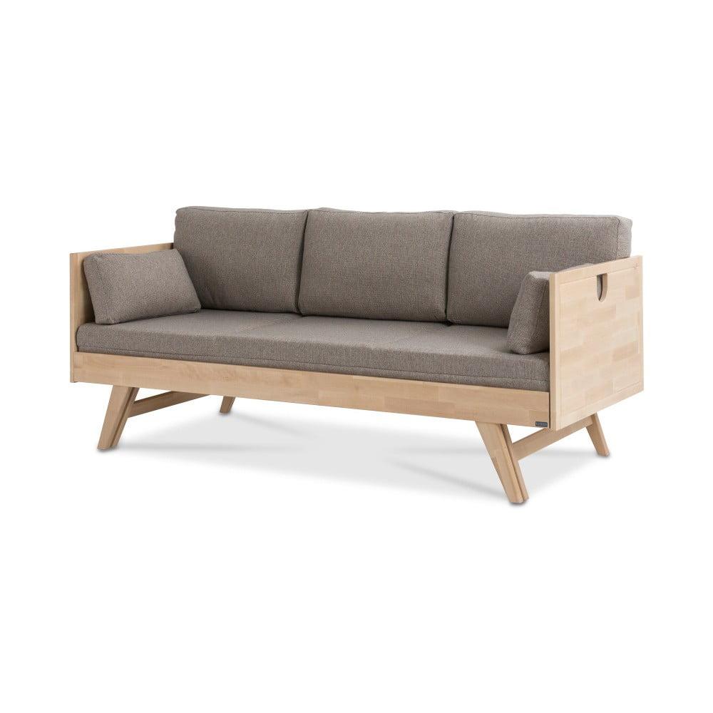 Ručne vyrobená konštrukcia rozkladacej pohovky z masívneho brezového dreva Kiteen Notte, 200 × 75 cm
