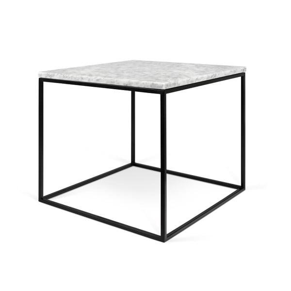 Biely mramorový konferenčný stolík s čiernymi nohami TemaHome Gleam, 50cm