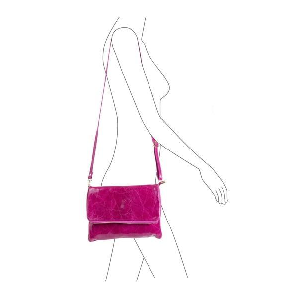 Fuksiová kabelka z pravej kože Andrea Cardone Maria