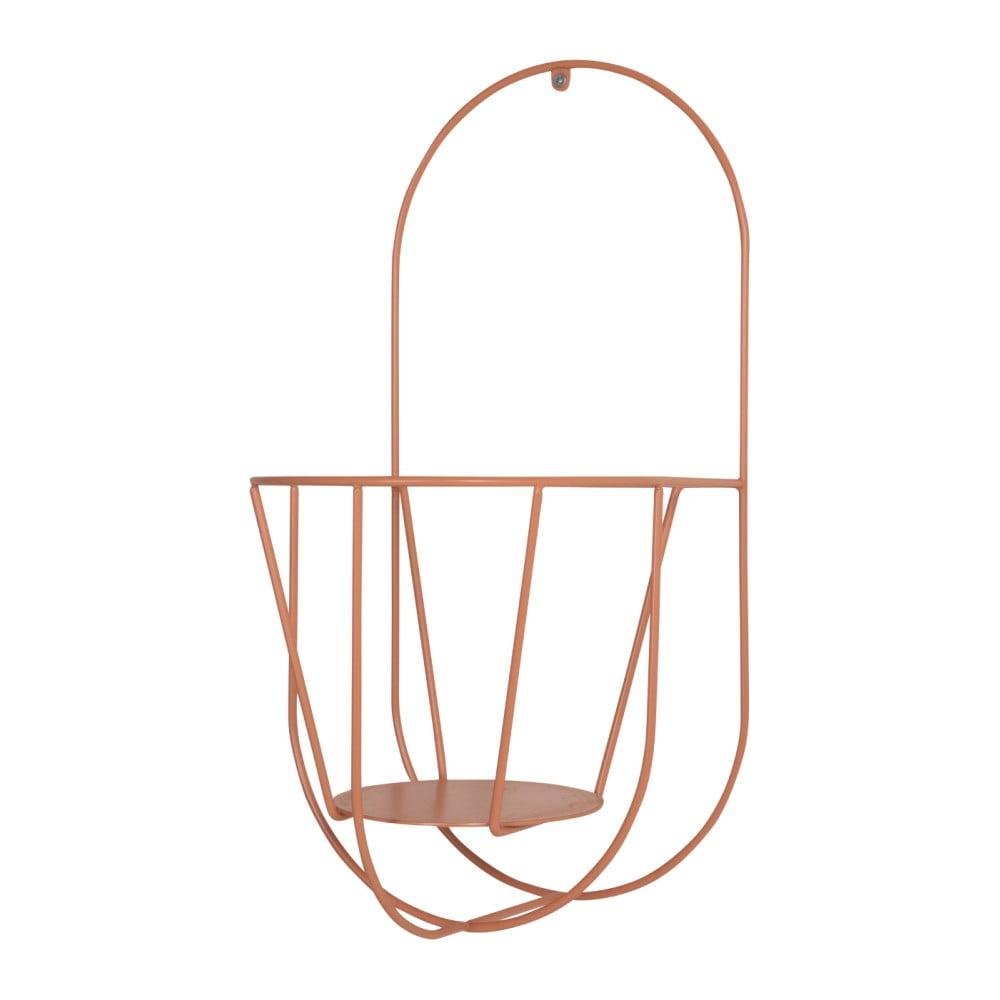 Oranžový nástenný držiak na kvetináče OK Design, výška 46 cm