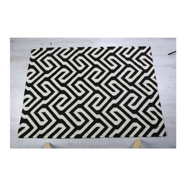 Vlnený koberec Geometry Modern Black & White, 160x230 cm