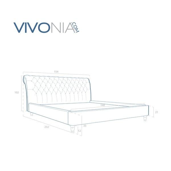 Pastelovozelená posteľ Vivonita Allon 140x200cm, prírodné nohy