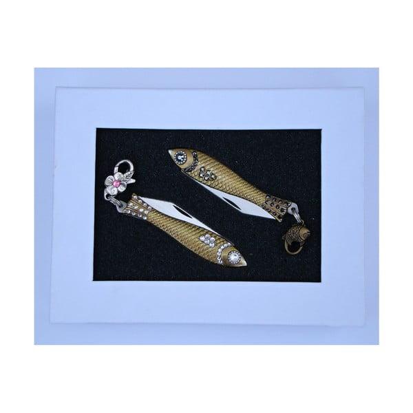 Darčekové balenie 2 nožíkov rybička Biele a tmavé kryštály, v plechovej krabičke
