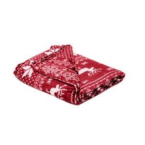 Červená mikroplyšová deka My House Deer, 150 × 200 cm