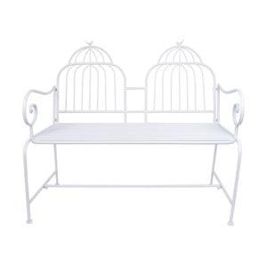 Biela kovová záhradná lavica Ewax Cage